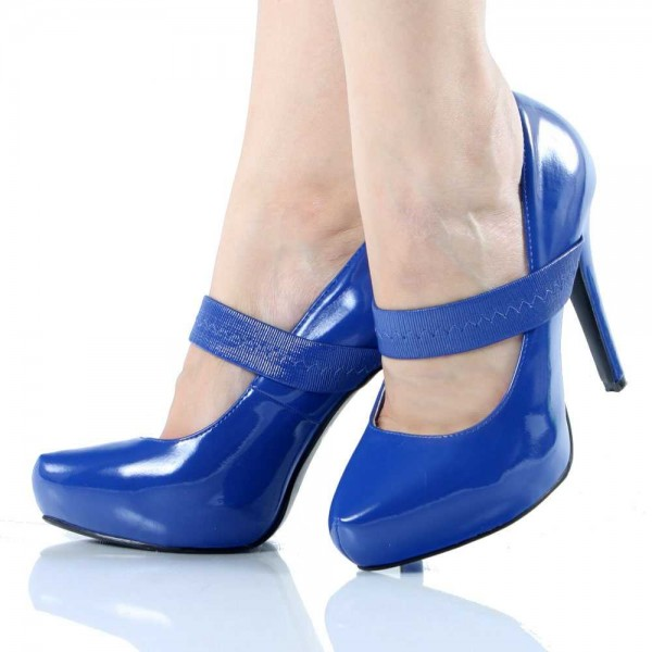 Navy Patent Leather Mary Jane Shoes Almond Toe Stiletto Heels Pumps image 1