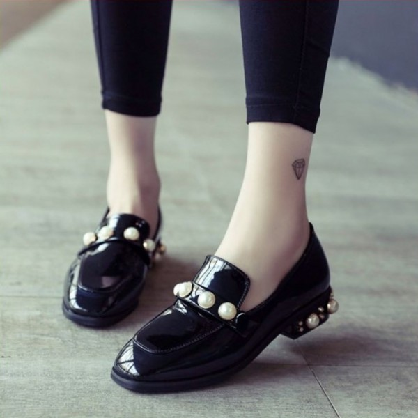 Navy Patent Leather Square Toe Low Heel Pearls Loafers for Women image 2