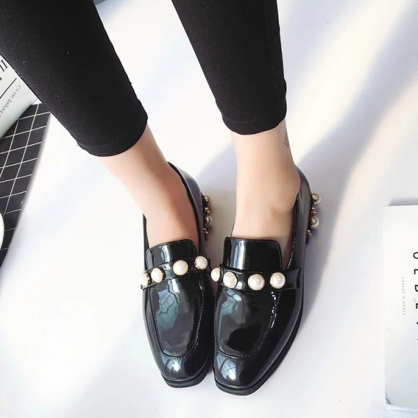Navy Patent Leather Square Toe Low Heel Pearls Loafers for Women image 4