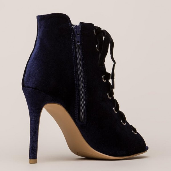 Navy Peep Toe Lace up Stiletto Heels Ankle Booties image 2
