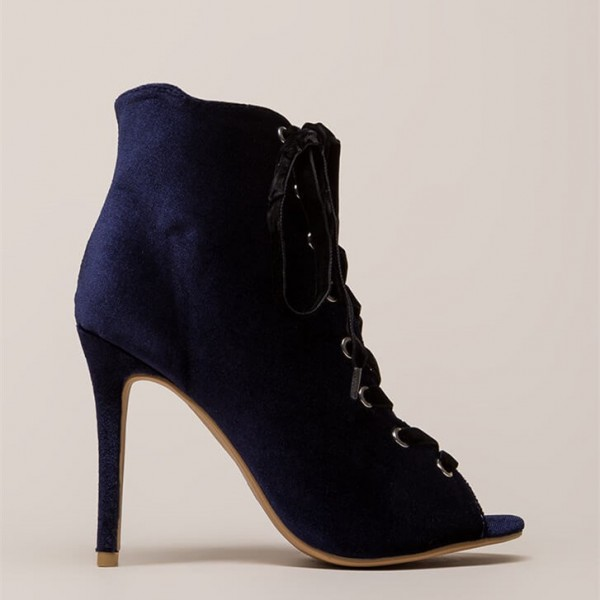 Navy Peep Toe Lace up Stiletto Heels Ankle Booties image 3