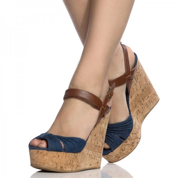 49edee1f2a30 Navy Peep Toe Wedge Sandals Vintage Denim Cork Wedges US Size 3-15 image 1  ...