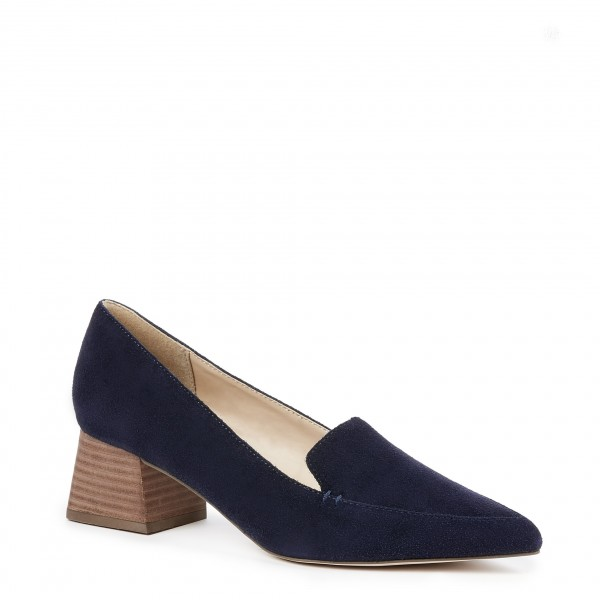 6a995df2129b9 ... Navy Pointed Toe Suede Loafers for Women Block Heels Shoes image 3 ...
