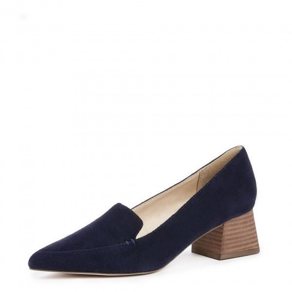 a1e88e54696 Navy Pointed Toe Suede Loafers for Women Block Heels Shoes for Work ...