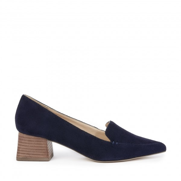 9f4c358f65f ... Navy Pointed Toe Suede Loafers for Women Block Heels Shoes image 2 ...