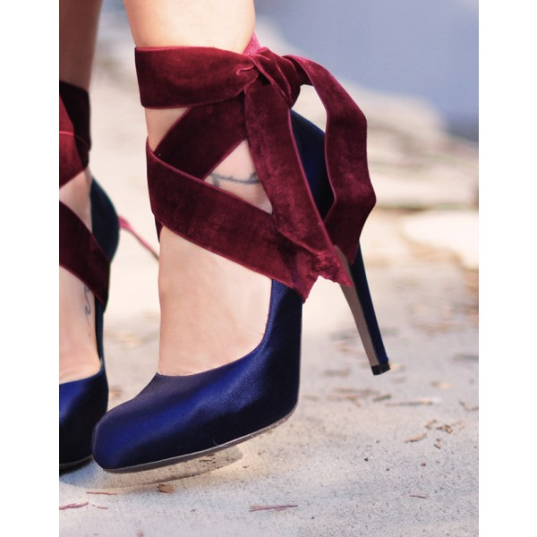 Navy And Burgundy Strappy Heels Satin Round Toe Pumps  image 4