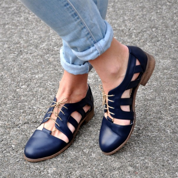 Navy Comfortable Shoes Round Toe Lace up Women's Oxfords image 1