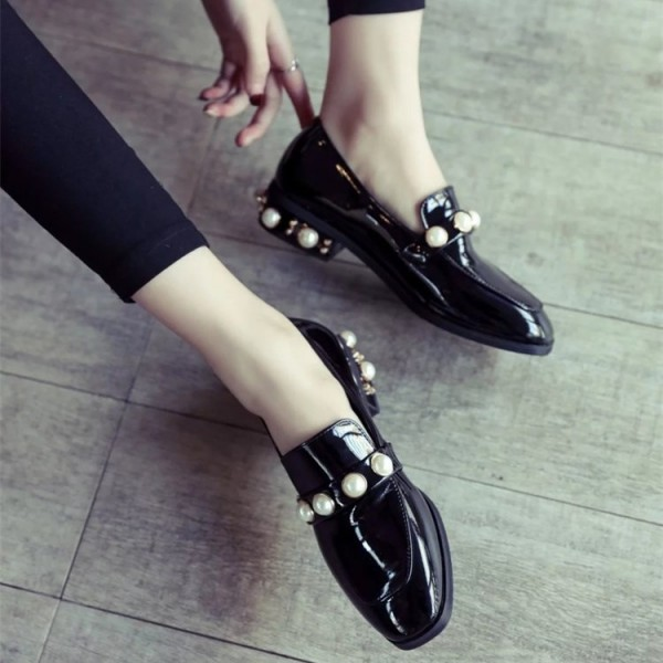 Navy Patent Leather Square Toe Low Heel Pearls Loafers for Women image 5