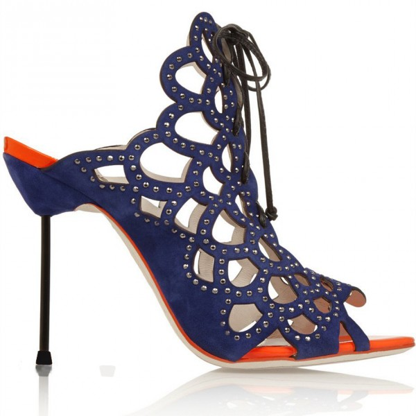 Navy Lace up Sandals Open Toe Caged Stiletto Heels  image 4