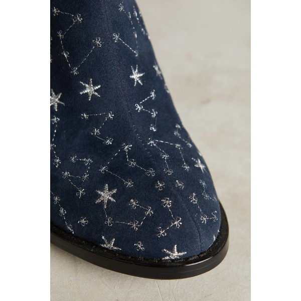 Witch Navy Suede Floral Platform Chunky Heel Boots for Halloween image 6
