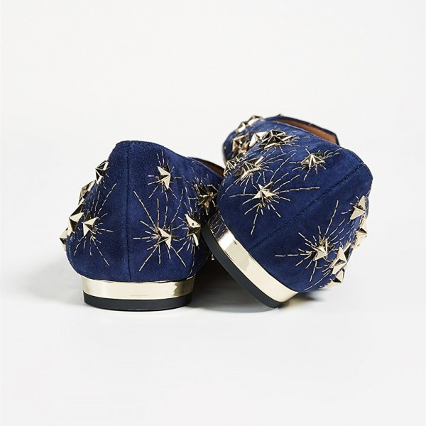 Navy Stars Studed Pointy Toe Comfortable Flats image 4
