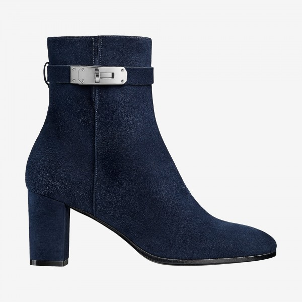 Suede Chunky Heel Navy Blue Boots Round Toe Ankle Booties with Lock image 2