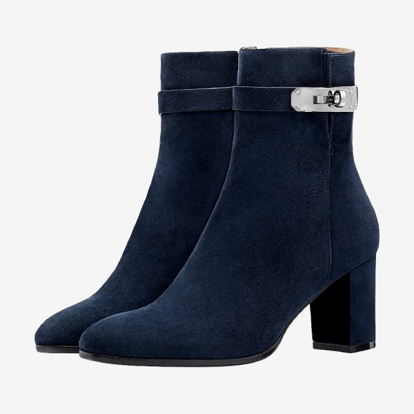 Suede Chunky Heel Navy Blue Boots Round Toe Ankle Booties with Lock image 1