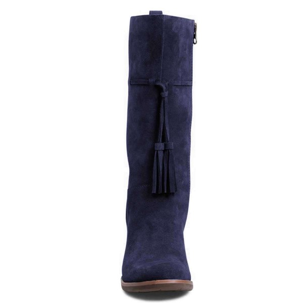 Navy Suede Boots Tassel Chunky Heel Mid Calf Boots  image 2