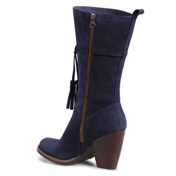 Navy Suede Boots Tassel Chunky Heel Mid Calf Boots  image 4
