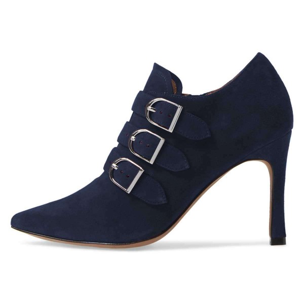 Navy Buckle Boots Pointy Toe Spool Heel Suede Ankle Booties image 3