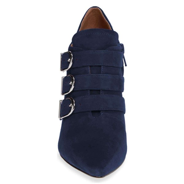Navy Buckle Boots Pointy Toe Spool Heel Suede Ankle Booties image 2