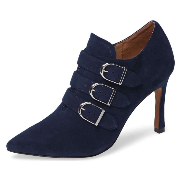 Navy Buckle Boots Pointy Toe Spool Heel Suede Ankle Booties image 1