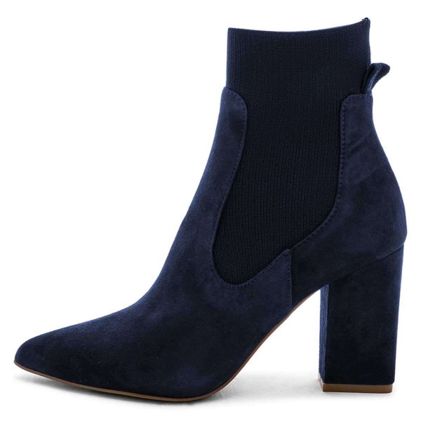 Suede Navy Blue Boots Chunky Heels Chelsea Boots image 4
