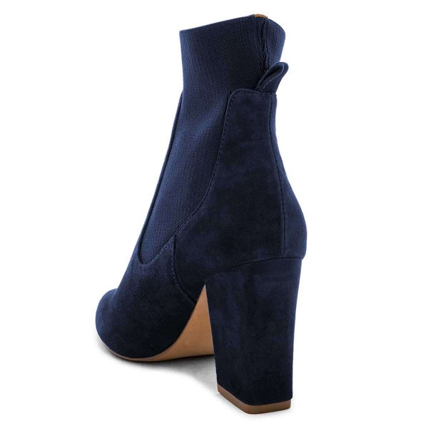 Suede Navy Blue Boots Chunky Heels Chelsea Boots image 3