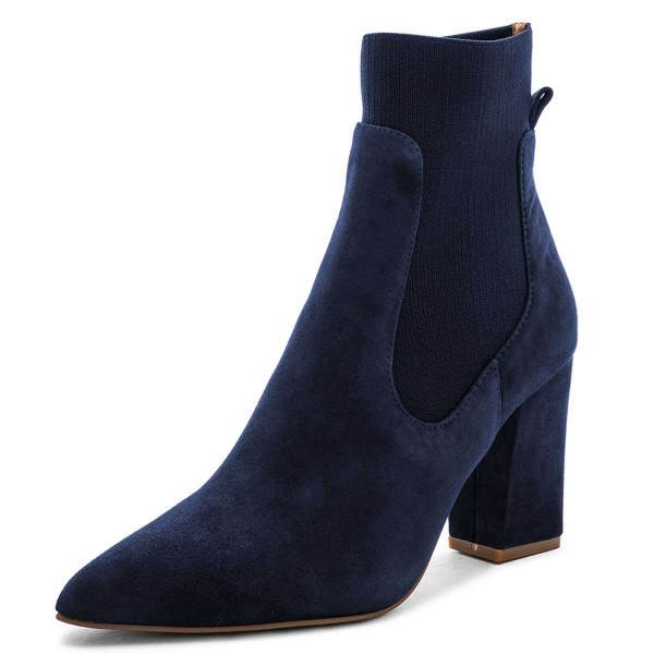 Suede Navy Blue Boots Chunky Heels Chelsea Boots image 1