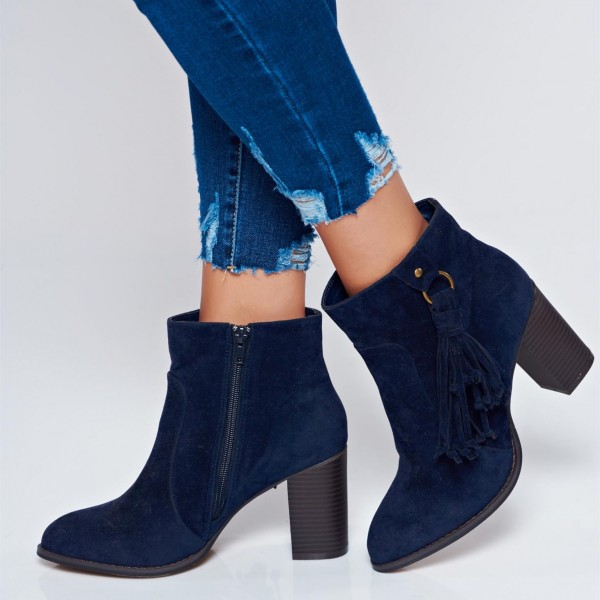 Navy Suede Chunky Heel Boots Ankle Boots with Tassel image 1
