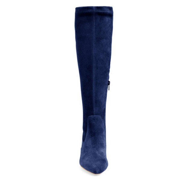 Navy Suede Knee-high Stiletto Boots for Women image 2