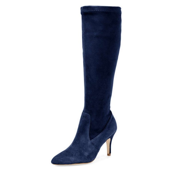 Navy Suede Knee-high Stiletto Boots for Women image 1