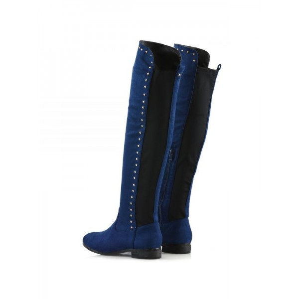 Navy Suede Long Boots Studs Knee High Boots image 3