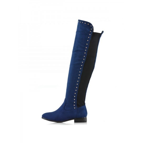 Navy Suede Long Boots Studs Knee High Boots image 4