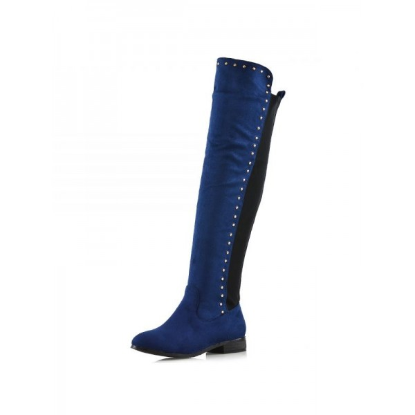 Navy Suede Long Boots Studs Knee High Boots image 2