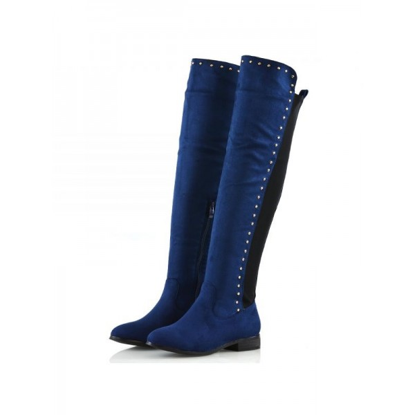 Navy Suede Long Boots Studs Knee High Boots image 1
