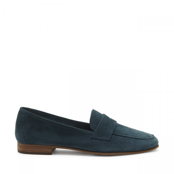Navy Suede Round Toe Loafers for Women image 3