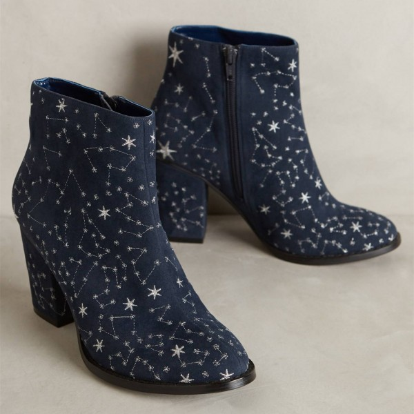 Witch Navy Suede Floral Platform Chunky Heel Boots for Halloween image 2