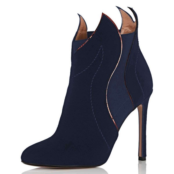 Navy Suede Stiletto Heel Fashion Ankle Booties image 1