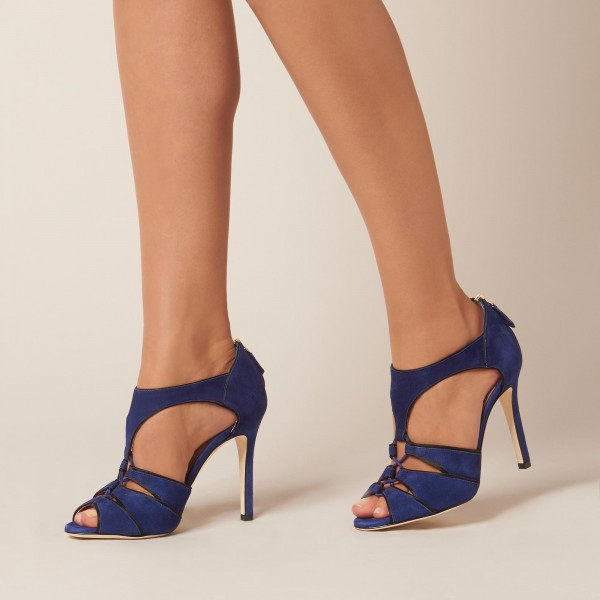 Navy Suede Stiletto Heel T Strap Sandals image 1