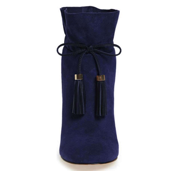 Navy Suede Tassel Chunky Heel boots Ankle Boots image 3