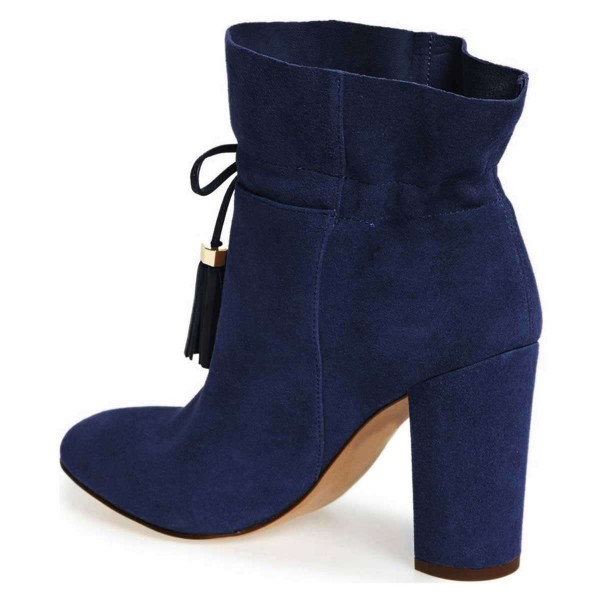 Navy Suede Tassel Chunky Heel boots Ankle Boots image 4