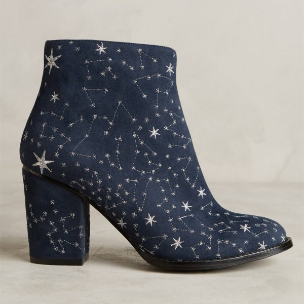Witch Navy Suede Floral Platform Chunky Heel Boots for Halloween image 3