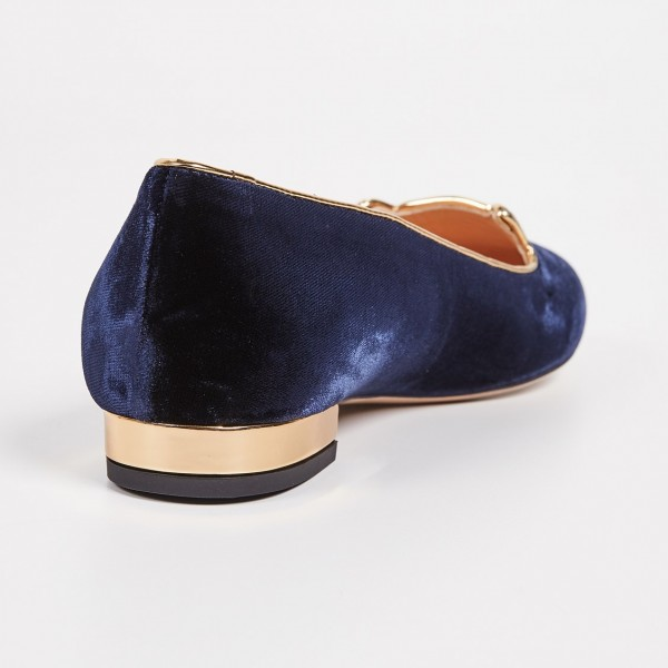 Navy Velvet Round Toe Cute Cats Comfortable Flats for Women image 3