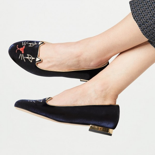 Navy Velvet Round Toe Cute Cats Comfortable Flats for Women image 1