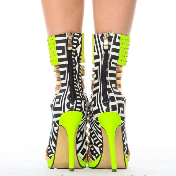 Lime Green Gladiator Sandals Open Toe Stiletto Strappy Heels For Women image 8
