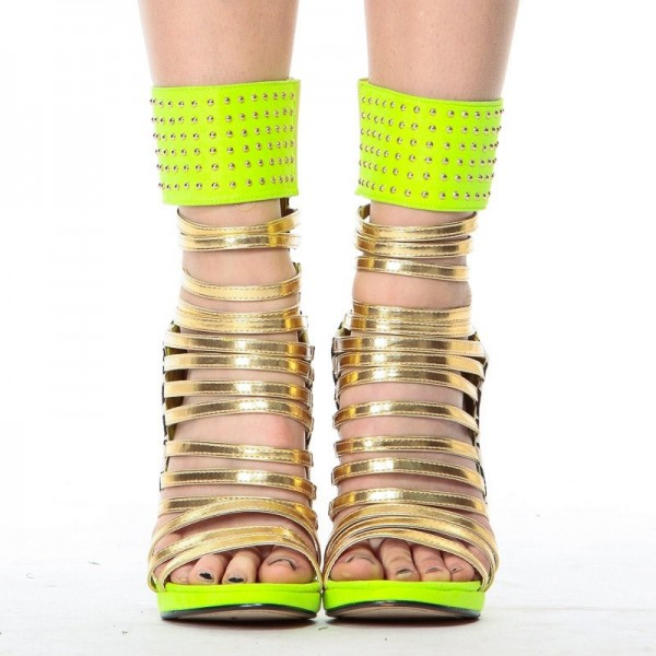 Lime Green Gladiator Sandals Open Toe Stiletto Strappy Heels For Women image 6