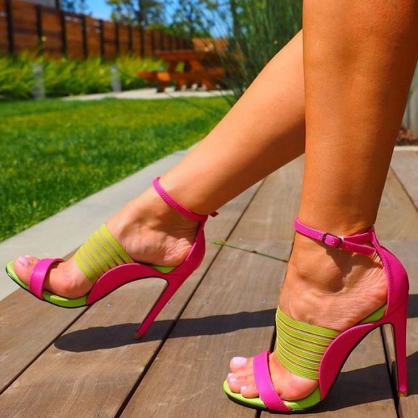 Neon Green and Pink Ankle Strap Stiletto Heels Sandals for Women image 1