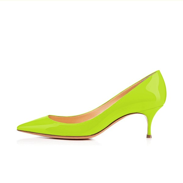 Neon Kitten Heels Patent Leather Pointy Toe Pumps by FSJ image 2