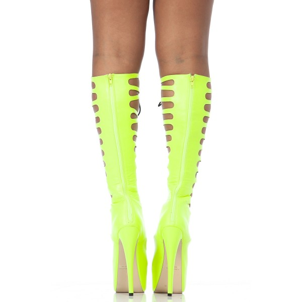 Neon Yellow Knee High Gladiator Heels Lace up Platform Long boots image 5