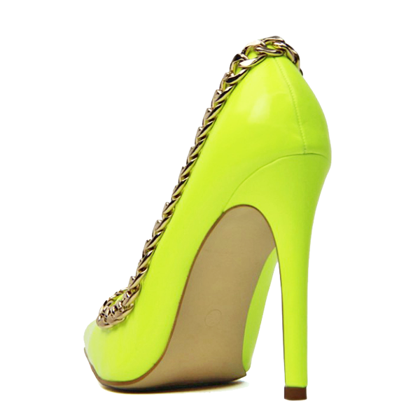 Neon Yellow Pointy Toe Stiletto Heels Pumps with Chain image 2