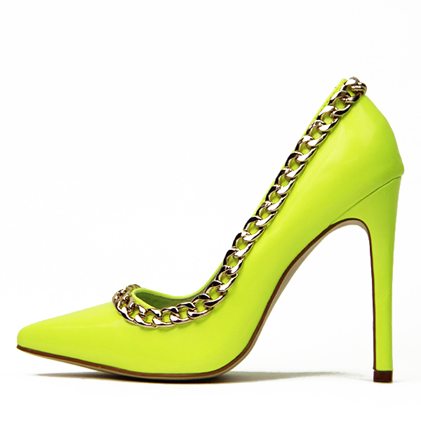 Neon Yellow Pointy Toe Stiletto Heels Pumps with Chain image 1