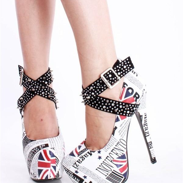 White Platform Heels Studded Cross-over Strap Pumps High Heel Shoes image 2