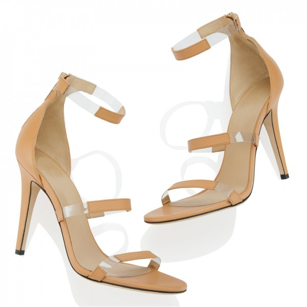 Khaki Clear Heels PVC Three Strap Open Toe Ankle Strap Sandals image 2